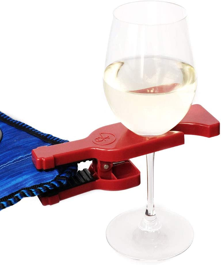 WineGrasp Wine Glass Holder 2-Pack for Wine Champagne Outdoor Beverage Cup Holder Martini Wine Grasp Clamps on to Outdoor Portable Foldable Camping Chair and Adirondack Chair with Ease