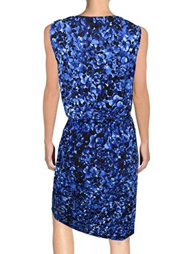 P Floral Size Karan Dress Print York Abstract Silk DKNY Cowlneck Blue Donna New Z4aw8q