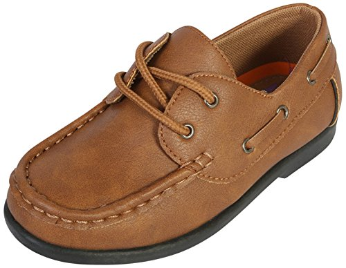 Jodano Collection Boys Slip on Boat Shoes with Memory Foam Insole, Tan, 4 M US Big Kid' Big Kids Tan Apparel