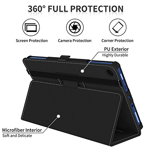Large Product Image of Ztotop Folio Case for Amazon Fire HD 8 Tablet (2017 and 2016 Release, 7th/6th Generation) - Smart Cover Slim Folding Stand Case with Auto Wake/Sleep for Fire HD 8 Tablet, Black