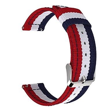 Universal 22mm Quick Release Watch Band, MoKo Nylon Sports Strap for Amazfit/Samsung Gear S3 Frontier/S3 Classic/Motorola Moto 360 2nd Gen 46mm/Garmin Vivomove/Huawei 2 Classic, Blue & White & Red