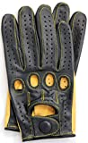 Riparo Genuine Kangroo Leather Full-finger Driving Gloves (Large, Black/Camel)