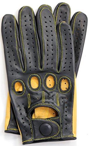 Riparo Genuine Kangroo Leather Full-finger Driving Gloves (Large, Black/Camel) by Riparo Motorsports