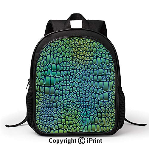 (Children's Campus School Bag Alligator Skin African Animal Crocodile Reptile Safari Wildlife Vibrant Artwork Backpack :Suitable for Men and Women,School,Travel,Daily use,etc,Green Blue)