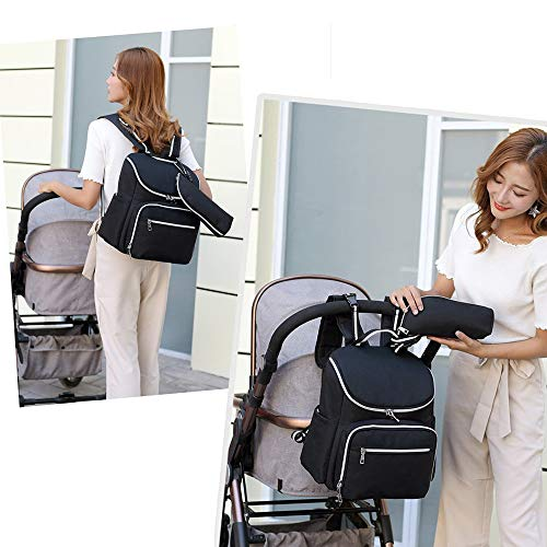 Baby Nappy Bag Backpack Diaper Bags Large Capacity Travel Maternity Bag,Stroller Organizer Straps Attached,with USB Port,Waterproof (Black)