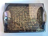 """Handmade Wooden Rectangle Tray 10.75"""" with Bamboo Weaved Plate decor for serving home kitchen decor."""