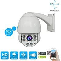 PTZ 1080P Security Speed Dome Camera 2.0 Megapixel Outdoor Security Camera with 10X Optical Motorized Pan Tilt Zoom Waterproof 164ft Night Vision Remote Access SWINWAY