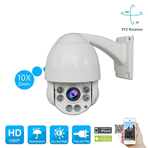 PTZ 1080P Security Speed Dome Camera 2.0 Megapixel Outdoor Security Camera with 10X Optical Motorized Pan Tilt Zoom Waterproof 164ft Night Vision Remote Access SWINWAY by SW SWINWAY