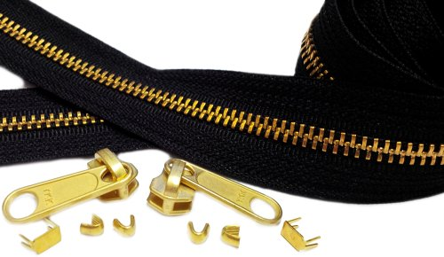 ZipperStop Wholesale Authorized Distributor YKK® 10 yards Brass Chain Zipper Replacement Black - YKK #5 with 10 Fancy Long Pull Sliders 30 Top Stops 30 Bottom Stops to Create Your Own Stunning Zippers - 100% Made in USA (10 Yards)