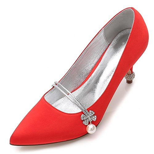L@YC Zapatos De Boda Femeninos F17767-39 Rhinestone SatéN Wedding Party & Fine Shoes Plataforma De Noche Red