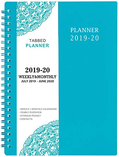 2019-2020 Academic Planner - Weekly & Monthly Planner, July 2019 - June 2020, Flexible Cover,12 Monthly Tabs, 21 Notes Pages, Twin-Wire Binding with Two-Sided Inner Pocket, 5