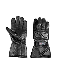 Men Motorcycle Snowmobile ATV Long Cuff Insulated Leather Gloves Gauntlets (XL, BLACK)