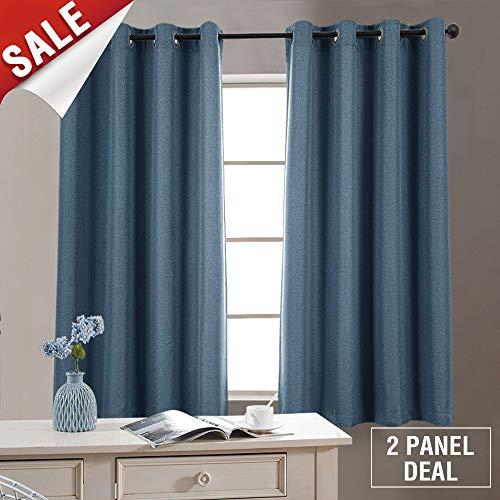 Denim Curtain Panel - jinchan Room Darkening Curtains Bedroom Window Treatment Set Linen Textured Blackout Curtains Living Room Curtain Panels Grommet (1 Pair 63 Inch, Denim Blue)
