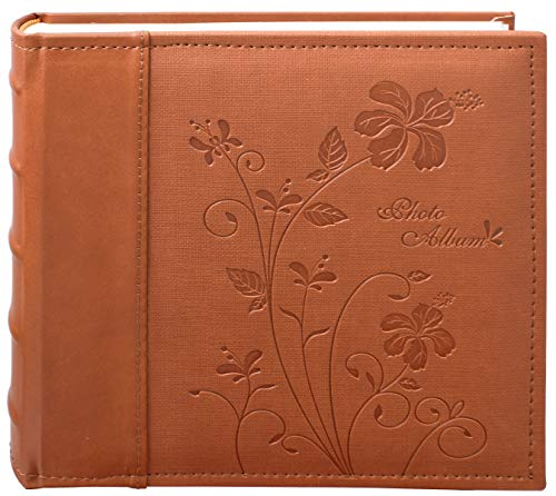 Golden State Art, Brown Floral Faux Leather Cover Photo Album for 200 4x6 Pictures, 2 Per Page