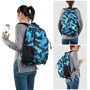 Vbiger Ordenador Mochila Portátil Oxford Computadora Hombro Bolso Casual Colegio Pantalón con Cargando Puerto (Azul)