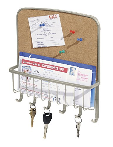 Mdesign mail letter holder key rack organizer for for Wall mail organizer with cork board