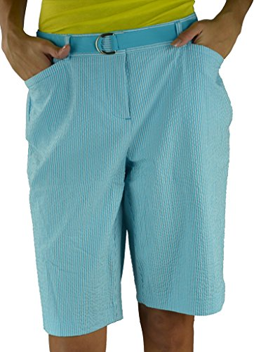 Striped Seersucker Bermuda Shorts (Charter Club Turquoise Seersucker Women's Bermuda Walking Shorts Blue 4)
