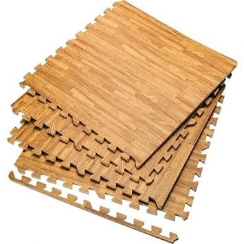 wood effect eva foam exercise floor mats gym garage house wooden 4 mats 16