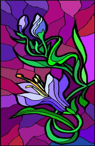 Flowers - Etched Vinyl Stained Glass Film, Static Cling Window Decal ()