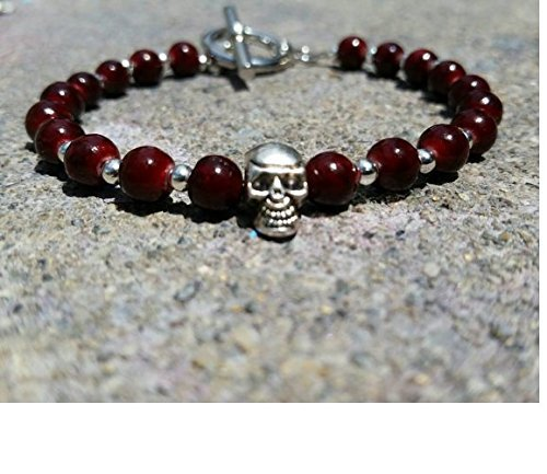 Skull Bead Bracelet / Mens Skull Jewelry / Blood Red Skull Bead Bracelet / Fathers Day Gift / Goft For Him / Skull Accessory
