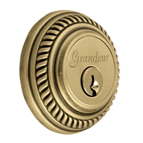 Grandeur GS60-NEWNEW-KD-VB Newport Deadbolt, Single Cylinder, Vintage Brass Finish