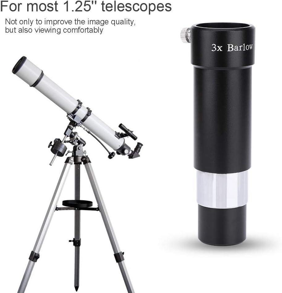 Hopcd 1.25 3X ED Barlow Lens Optical Glass Metal 1.25 Telescopes Achromatic ED Barlow Lens Black