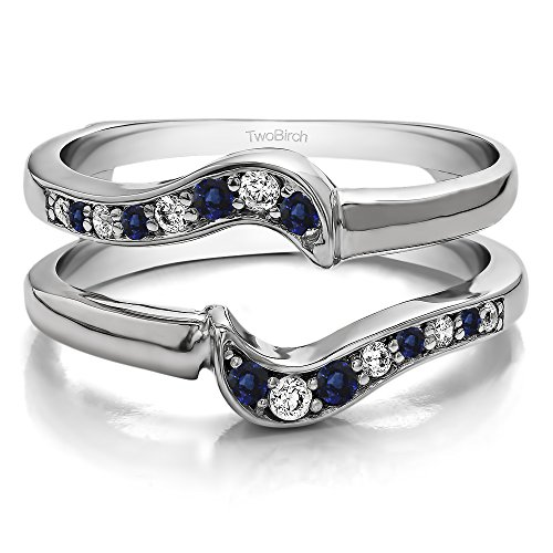 (TwoBirch 0.24 ct. Diamonds (G-H,I2-I3) and Sapphire Small Knott Ring Guard Enhancer in Sterling Silver (1/4 ct. twt.) (Size 3 to 15 in 1/4 Size Intervals))