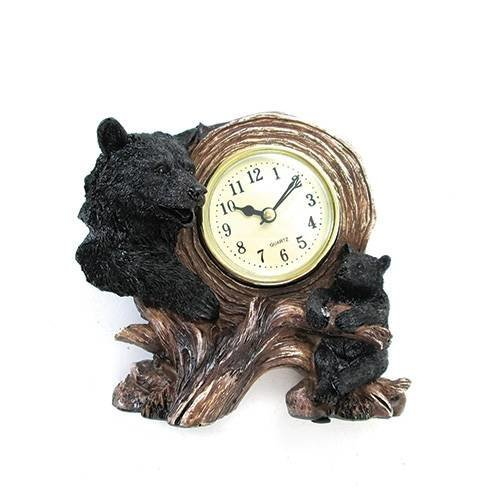 StealStreet SS-UG-GMD-586 Table Clock with Two American Black Bears, Gold, 6