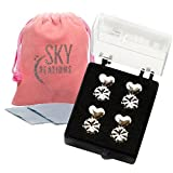 Magic Backs Earring Lifters - 2 Pairs of Adjustable Hypoallergenic Earring Lifts (1 Pair Sterling Silver Plated & 1 Pair 18K Gold Plated) Jewelry Pouch & 2 Jewelry Cleaning Cloths Included!