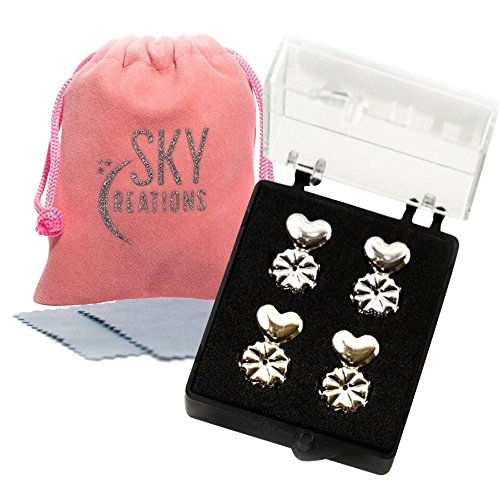 Magic Backs Earring Lifters - 2 Pairs of Adjustable Hypoallergenic Earring Lifts (1 Pair Sterling Silver Plated & 1 Pair 18K Gold Plated) Jewelry Pouch & 2 Jewelry Cleaning Cloths Included! by SKY CREATIONS
