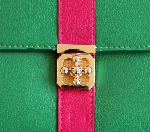 Clutch Di Lusso In Verde E Rosa Da R2deluxe! Vera Pelle! Perfetto Per Ipad 2/3/4!