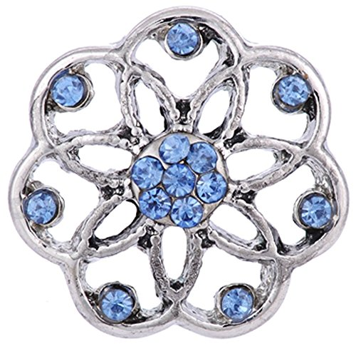 Blue Open Flower Ginger Snap - Snap Button
