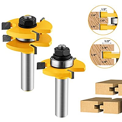 Tongue and Groove Set, 2Pcs Router Bit Set Wood Door Flooring 3 Teeth Adjustable T Shape Wood Milling Cutter Woodworking Tool 1/2 Inch Shank,For Router Table/Base Router, Kitchen/Bathroom/Cabinets