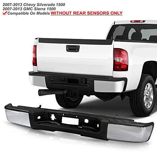 ACANII - For 2007-2013 Chevy silverado/GMC Sierrsa 1500 Chrome Steel Complete Rear Step Bumper w/o Sensor Holes Assembly