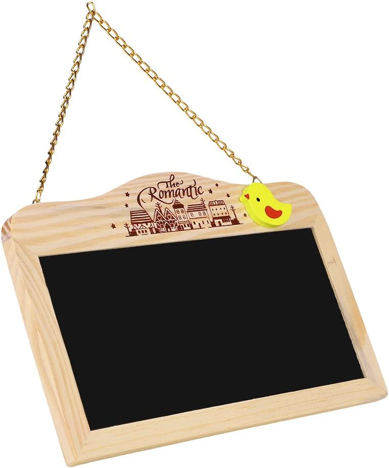Chalkboard Home Hanging Set with 1 Chalk Eraser 3 Cute Push Pin Wooden Drawing Message Bulletin Board for Home Office Class School