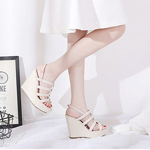 Sandals ZHIRONG Fashion Women's High Heel Summer Open Toe Waterproof Platform Weave Wedges Bohemia Thick Bottom Beach Shoes 12CM (Color : Beige, Size : EU35/UK3/CN34) Beige