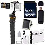 ikan 3-Axis Gimbal Stabilizer for GoPro + Replacement Lithium Ion Battery + 128GB SDXC Class 10 Memory Card + SD Card USB Reader + Memory Card Wallet + Deluxe Starter Kit Bundle