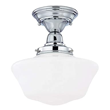 10-Inch Schoolhouse Ceiling Light in Chrome Finish