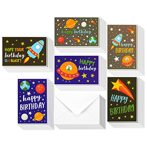 48 Pack Children Birthday Cards - 6 Colorful Galaxy Outer Space Designs - Happy Birthday Greeting Cards Assortment for Kids Variety Pack - Bulk Box Set with Envelopes Included - 4x6 Inches