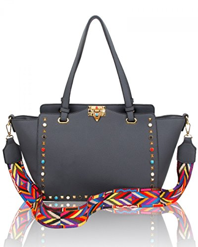 Sale Handbags LeahWard W48xh26xd19 Bags For Shoulder Large Strap Women's 5cm Bag Aztec Designer Her Guitar Grey Dark Holiday Clearance Tote 2178 rSxHzSOq