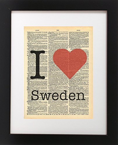 I Heart Sweden Vintage Dictionary Print 8x10 inch Home Vintage Art Abstract Prints Wall Art for Home Decor Wall Decorations For Living Room Bedroom Office - Sweden Usps