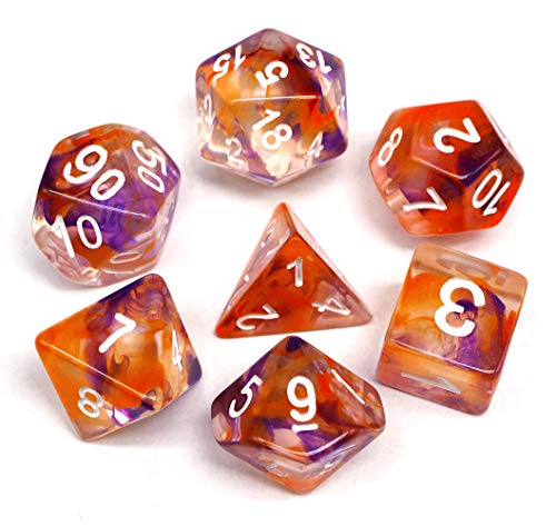 HD Polyhedral Dice Sets DND Game Dice for Dungeons Dragons(D&D) Role Playing Game(RPG) MTG Pathfinder Table Game Board Games Dice Flowing Series Double Color Transparent Dice (Purple-Orange)