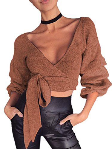 Sleeve Tiered Top (Womens Sexy Plunge V Neck Knit Long Sleeve Crop Top Knot Tie Front Surplice Wrap Tops Shirt Khaki XL)