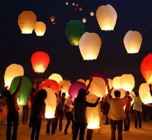 Lajbir Paper Sky Lantern  Multicolor    Pack of 15