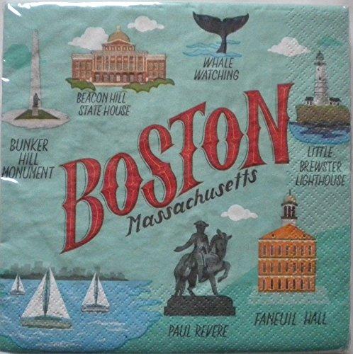Boston Massachusetts Theme Beverage Paper Cocktail Napkins
