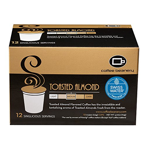Coffee Almond Decaf Flavored Toasted - Coffee Beanery Toasted Almond SWP Decaf Singlicious Servings Single-cup Coffee Pack Sampler for Keurig K-cup Brewers