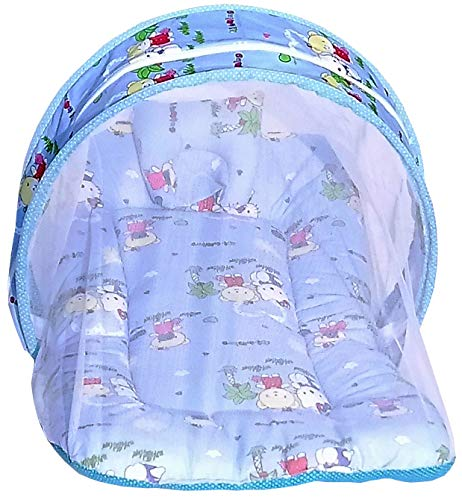 Nagar International Baby Cot Bedding Set with Mosquito Net in Cotton Fabric (Coconut Tree Blue, 0-5 Months)