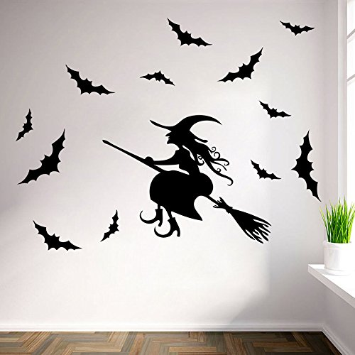 FinerMe Happy Halloween DIY Removable Wall Sticker for Shop Home Window Glass Witch Riding A Broom with Bats Kids' Room Nursery Decorations