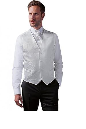 buy online running shoes new arrive Gilet Costume Mariage Homme motifs col V blanc ou noir ...