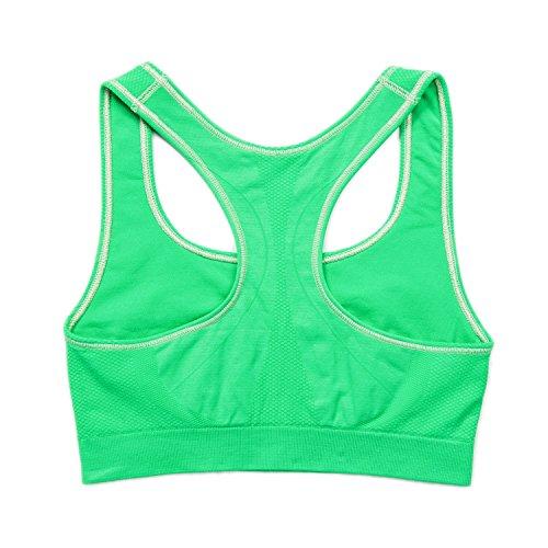 LAPASA Sujetador Deportivo sin Costura para Mujer (Estilo Racerback). Para Yoga, Estiramiento, Running Flashy Green (Verde)